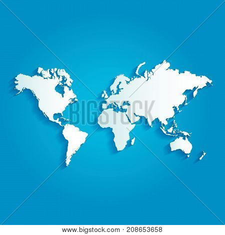 World map with shadow on blue background.