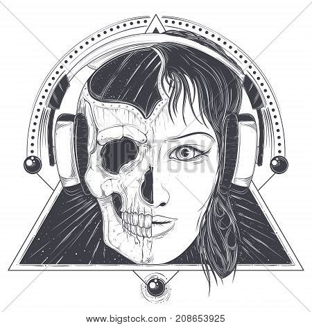 Woman in headphones with half face skull hand drawn vector illustration isolated on white background. Mystic and scary female portrait with geometric ornaments for music poster, tattoo or print