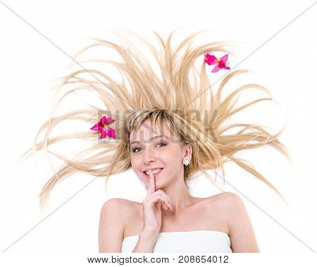 portrait of beautiful surprise young woman, isolated on white background