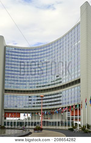 Vienna, Austria - September 26, 2013: The Vienna International Centre (VIC) is the campus and building complex hosting the United Nations Office at Vienna (UNOV).