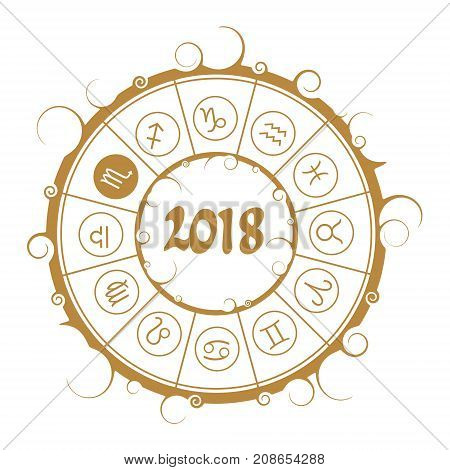 Astrological symbols in the circle. Scorpion sign. New Year and Christmas celebration card template. Zodiac circle with 2018 new year number.