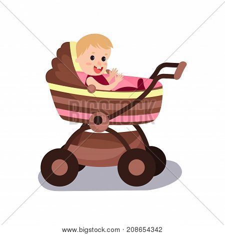 Adorable baby sitting in a modern pram, transporting of small children with comfort cartoon vector illustration isolated on a white background