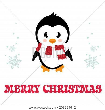 cartoon penguin with scarf on a white background vector