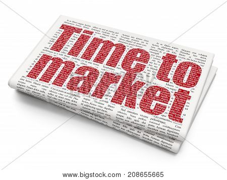 Time concept: Pixelated red text Time to Market on Newspaper background, 3D rendering