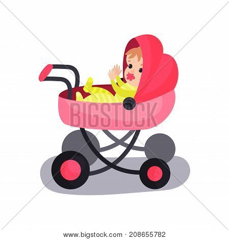 Lovely baby in a pink modern pram, transporting of small children with comfort cartoon vector illustration isolated on a white background