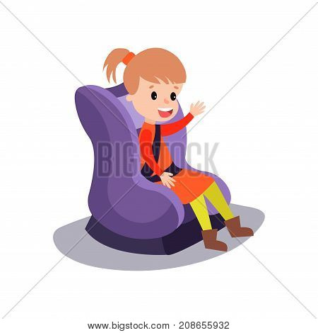 Cute little girl sitting on a purple car seat wearing seat belt, safe child traveling cartoon vector illustration isolated on a white background