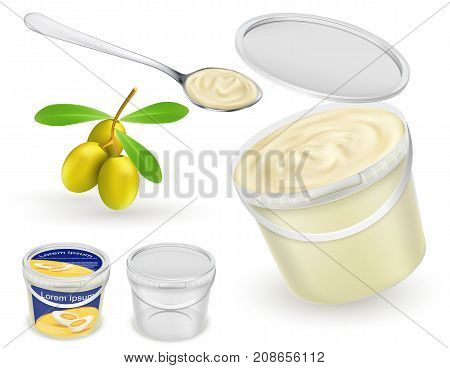 Branded and blank, empty and with mayonnaise, sour, cream, yogurt, cottage cheese, sauce, ice cream plastic buckets, spoon and olives realistic vector template set. Food product packaging mockup