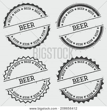 Beer Insignia Stamp Isolated On White Background. Grunge Round Hipster Seal With Text, Ink Texture A