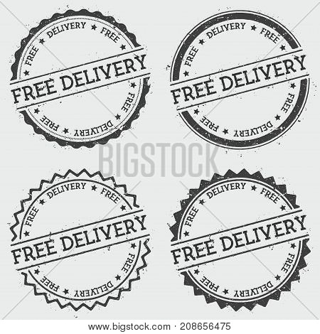 Free Delivery Insignia Stamp Isolated On White Background. Grunge Round Hipster Seal With Text, Ink