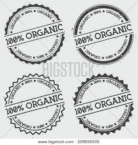 100% Organic Insignia Stamp Isolated On White Background. Grunge Round Hipster Seal With Text, Ink T