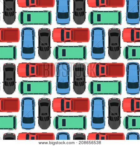 Top view colorful car toys seamless pattern background pickup automobile transport wheel transportation design vector illustration. Traffic roof motor vehicle freight graphic.