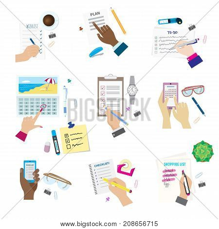 Agenda list concept vector illustration. Business paper clipboard in flat style. Self-adhesive notes color hand article. Make a Wishlist and shopping list. Plan to do just.