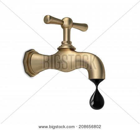 Brass tap with black drop isolated on white. 3D rendering