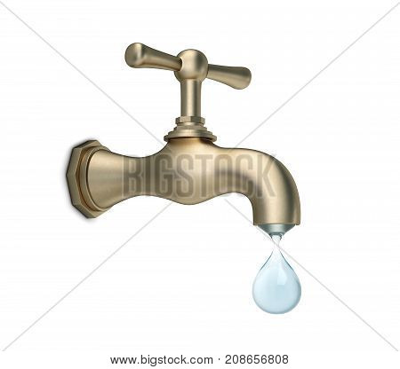 Brass water tap with big drop of water isolated on white. 3D rendering