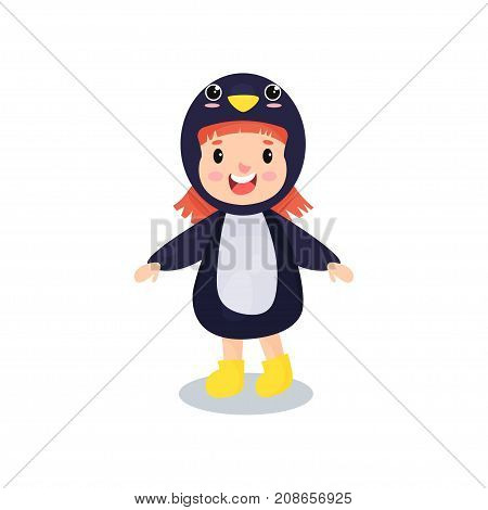 Sweet happy little girl in the costume of penguin, kid in festive fancy dress cartoon vector illustration isolated on a white background