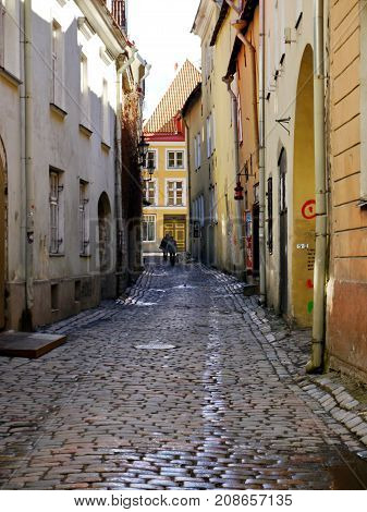 Narrow street of Old Tallinn (Vana Tallinn)