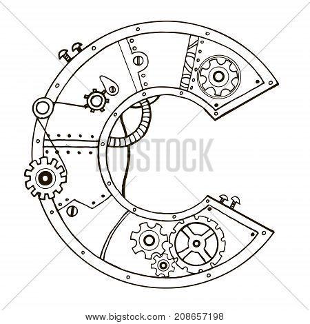Mechanical letter C engraving vector illustration. Font art. Scratch board style imitation. Hand drawn image.