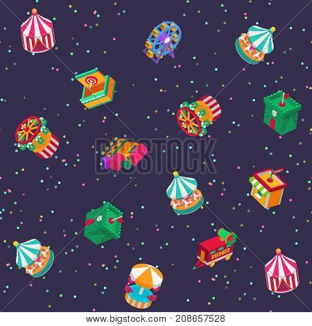 Park amusement attraction park with carousels kid outdoor entertainment construction vector illustration isometric game 3d style seamless pattern background.