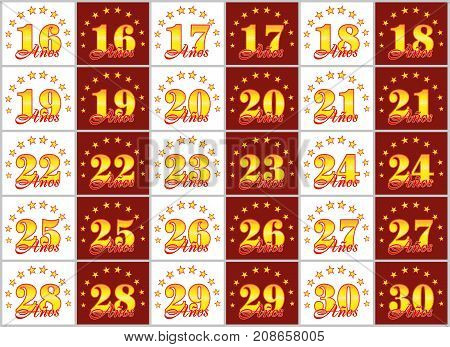 Set Of Gold Numbers From 16 To 30 And The Word Of The Year Decorated With A Circle Of Stars. Vector