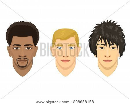 Young man avatar character male face portrait cartoon person vector illustration. Adult design human people attractive casual guy user.
