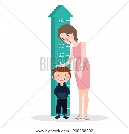 measure child kid height mother woman ruler meter grow healthy full color vector