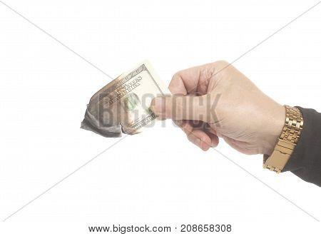 Male Hand Holding Burning One Hundred Dollar