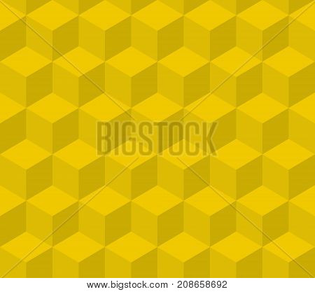 Isometric yellow square seamless pattern. Pattern included in swatch. Vector illustration.