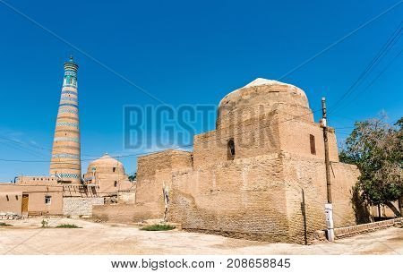 Bogbonly Mosque at Itchan Kala fortress in the historic center of Khiva. UNESCO world heritage site in Uzbekistan, Central Asia