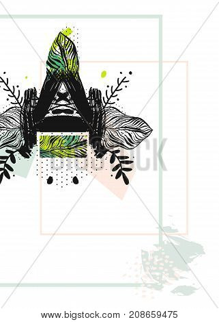Artistic abstract creative universal card template.Modern boho tropical minimalistic design for poster, card, invitation, placard, brochure, flyer.Pastel, green, black and white colors.