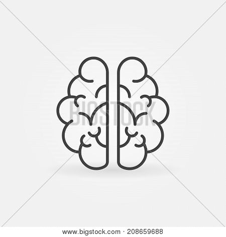 Brain outline icon. Vector mind concept sign or design element in thin line style