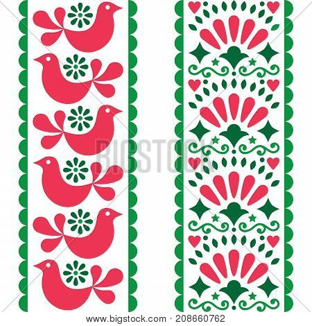 Folk art seamless pattern - Mexican style long stripes design with birds and flowers in pink and green