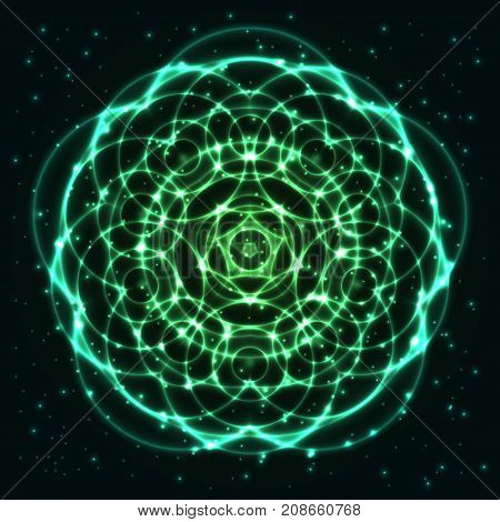 Bright shining and glaring abstract mandala. Beautiful decorative cosmic background. Abstract glowing green flower. Vector EPS10 file.