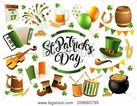 Happy Saint Patrick s Day traditional collection. Vector illustration isolated on white background