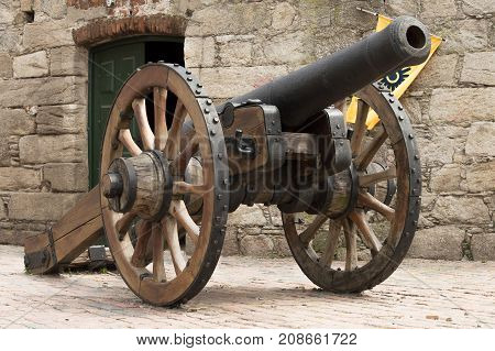 old cannon in colonial city in Montevideo, Uruguay