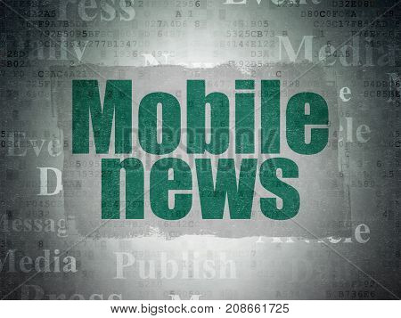 News concept: Painted green text Mobile News on Digital Data Paper background with   Tag Cloud