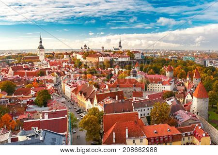 Aerial panorama of Old town with Town hall and Toompea hill, view from the tower of St. Olaf church, Tallinn, Estonia