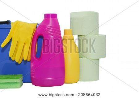 Cleaning items in bucket isolated on white background.