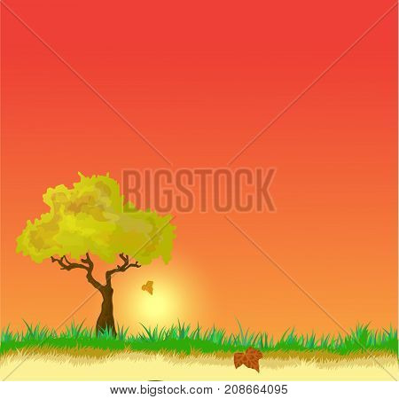 Vector landscape with Golden Autumn leaves tree