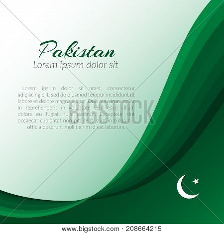 Pattern With Inscription Pakistan  Background Of Curved Green Lines Vector