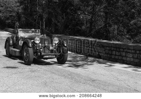 GOLA DEL FURLO, ITALY - MERCEDES-BENZ 710 SSK 1929 1 on an old racing car in rally Mille Miglia 2017 the famous italian historical race (1927-1957) on May 19 2017