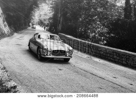 GOLA DEL FURLO, ITALY - MAY 19: FERRARI 250 GT EUROPA 1954 on an old racing car in rally Mille Miglia 2017 the famous italian historical race (1927-1957) on May 19 2017
