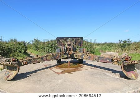 German World War Two field gun in Normandy, France