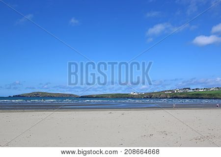 Golden sand of Poppit beach in Wales