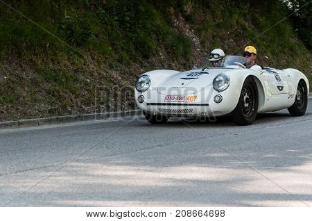 GOLA DEL FURLO, ITALY - MAY 19: PORSCHE 550 SPYDER RS 1955 1 on an old racing car in rally Mille Miglia 2017 the famous italian historical race (1927-1957) on May 19 2017