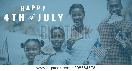 Digitally generated image of happy 4th of july text against happy family eating watermelon and showing usa flag