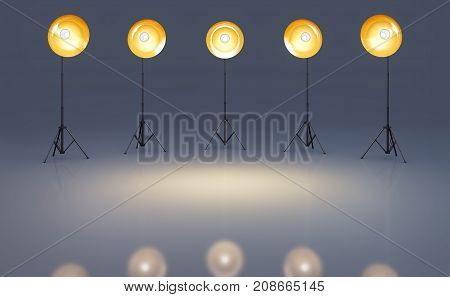 3D rendering of a photo studio background with lights