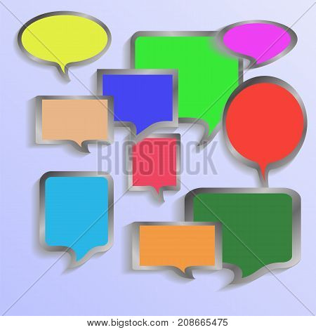 Set of Colorful Speech Bubbles Isolated on Blue Background