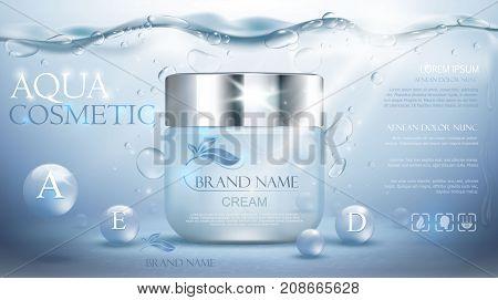 Aqua cream moisturizing cosmetic. Advertising realistic underwater blue template. Skincare promotion. Hydrating facial lotion. Vector illustration