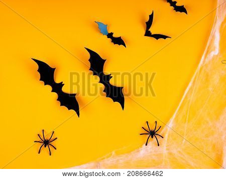 Bat Halloween Orange Bright Vaughn, Copy Space, Cute, Humorous Backdrop For A Fun Filled Holiday, Fl