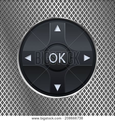 Round knob switch on metal perforated background. Vector 3d illustration